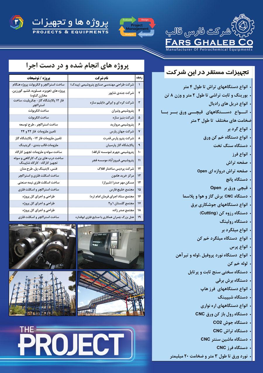 تولید و نصب تجهیزات نفت و گاز و پتروشیمی (پروژه ها و تجهیزات)